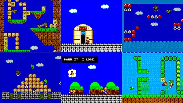 Several scenes from Alex Kidd in Miracle World for the Sega Master System.