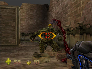 When the crosshair achieves a lock, the targeted enemy runs away and flails their arms in fear. It's quite funny.