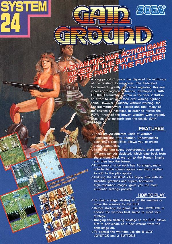 3 Player Video Games Gain Ground Arcade Flyer