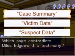 Phoenix Wright: Ace Attorney Gameplay Screenshot