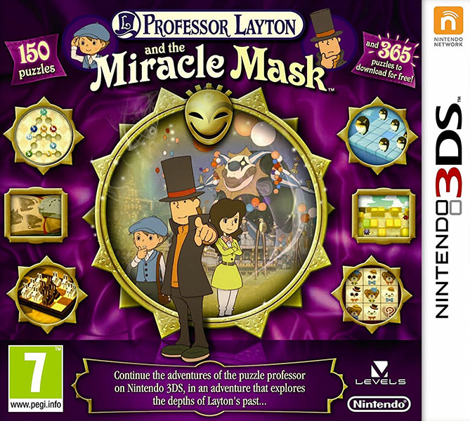 Professor Layton and the Miracle Mask Nintendo 3DS Box Art