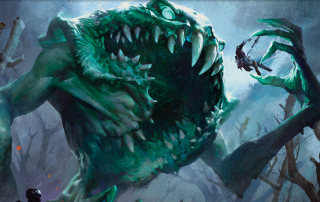 Best Flavor Text for MTG Banner featuring Yargle; a giant green monster devouring a group of tiny soldiers