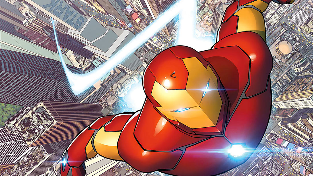 Iron Man flies above New York City in Marvel Champions: The Card Game
