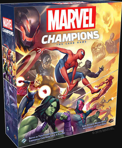 Heroes and villains leap into action on the box art of Marvel Champions: The Card Game
