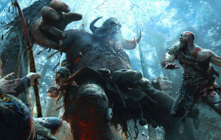 God of War: The Card Game scene featuring warriors fighting a frost giant in the woods of Helheim