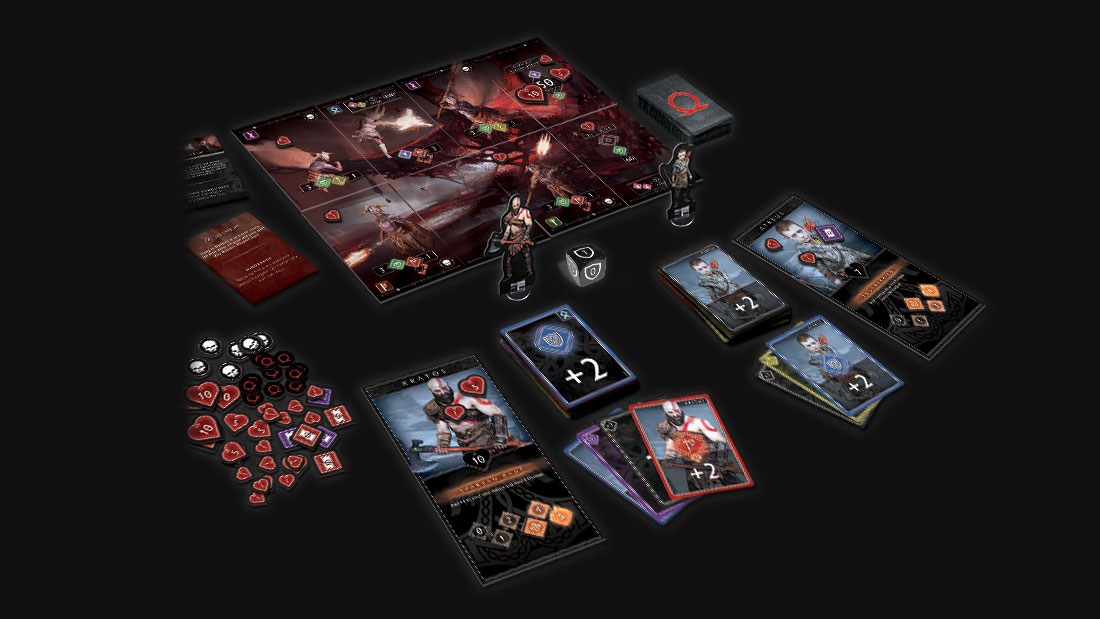 God of War: The Card Game cards and tokens set up on a table ready to play
