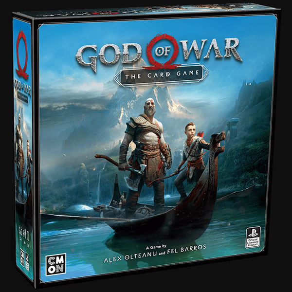 God of War: The Card Game box art showing warrior Kratos and his Son Artreus standing on a longship