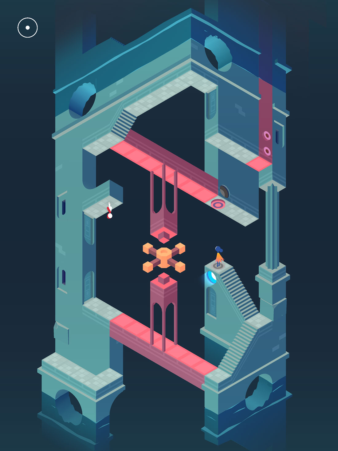 Monument Valley 2 screenshot showing a princess standing inside a reflected room of switches and walkways.