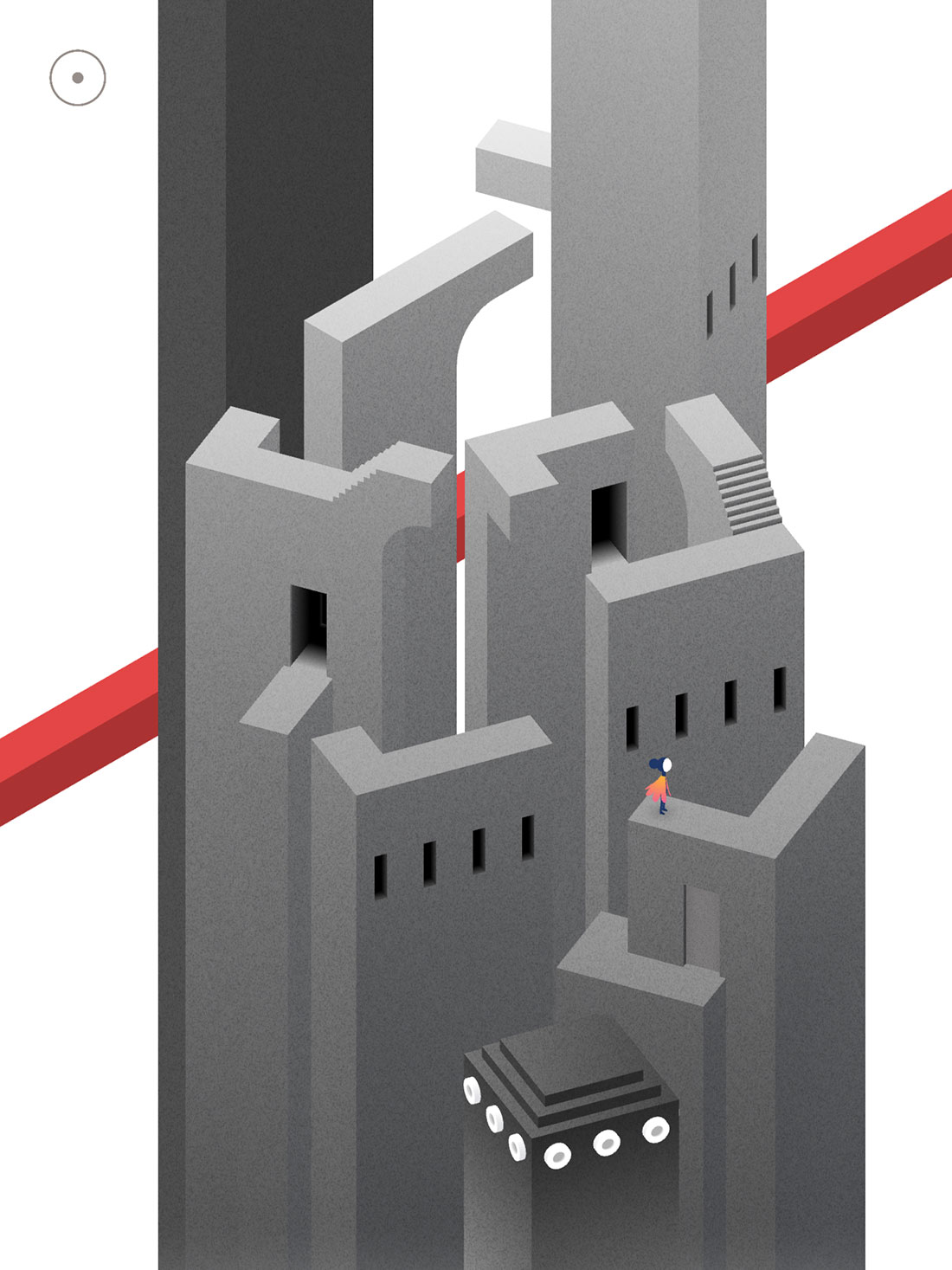 Monument Valley 2 gameplay screenshot showing a princess standing on a rotating tower