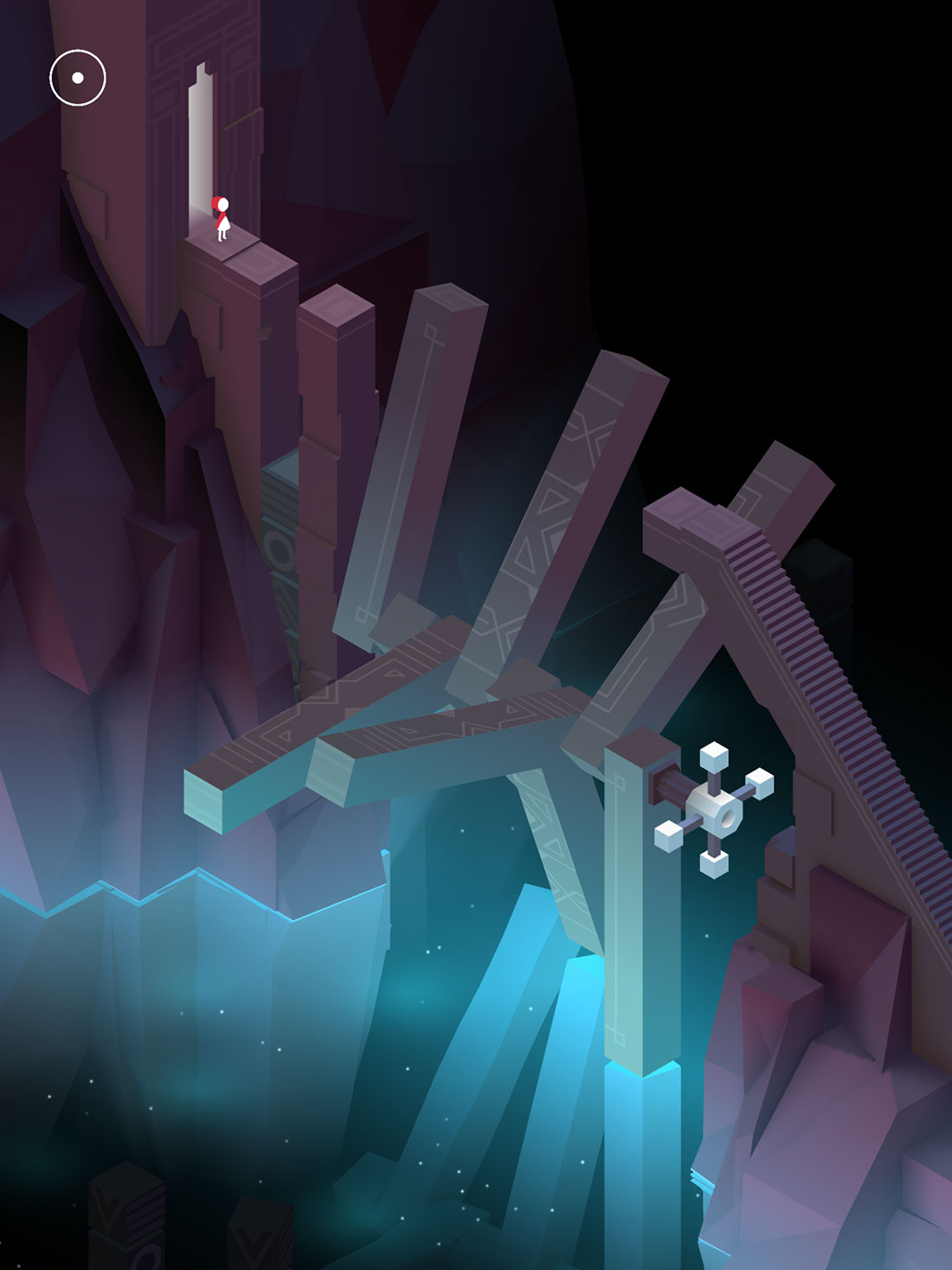 Monument Valley 2 screenshot showing a princess facing a weirdly rotating bridge above a blue abyss.