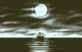 Return of the Obra Dinn banner showing a merchant ship sailing under the moonlight