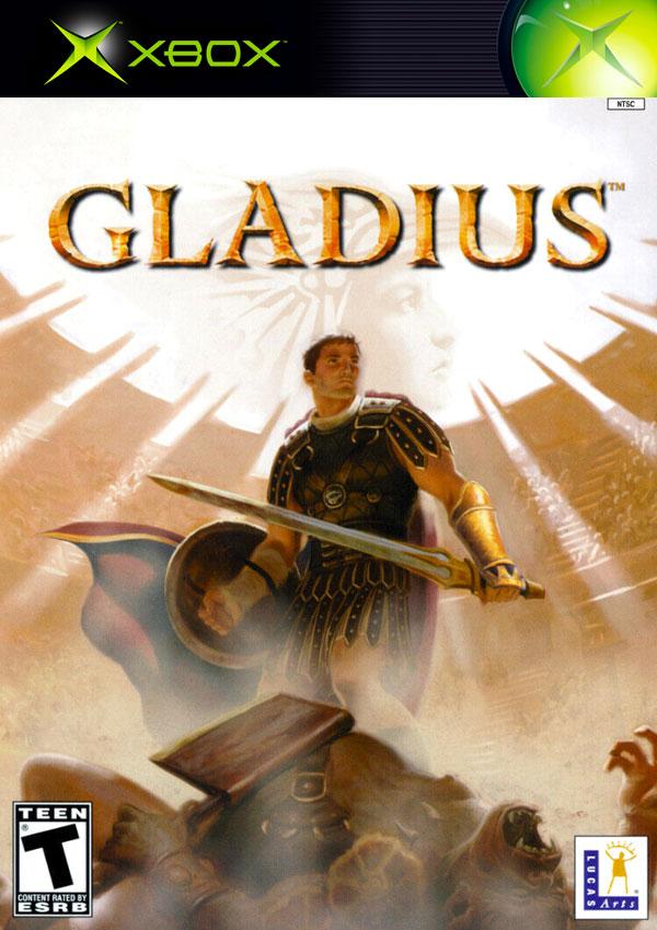 Gladius NTSC-U Box Art depicting a gladiator standing over a fallen foe