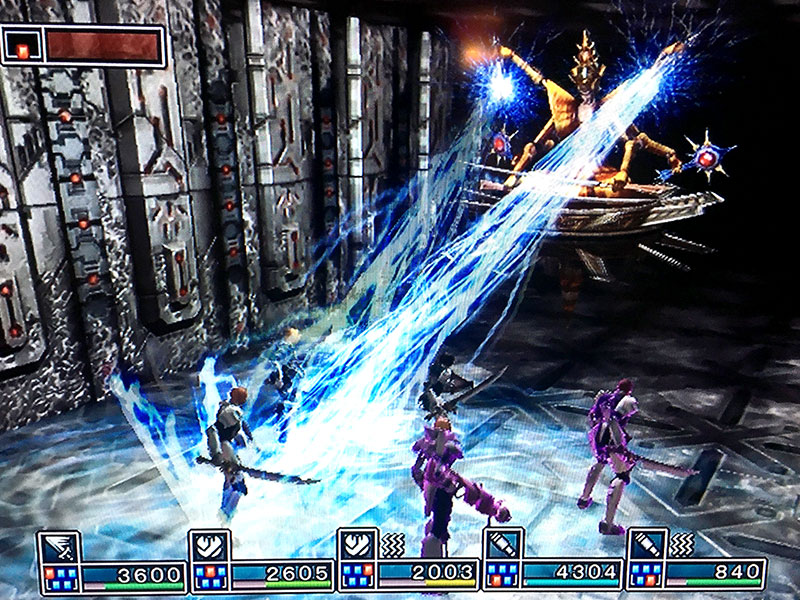 A hovering boss in Metal Dungeon shoots a team of mercenaries with lightning bolts