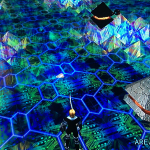 An armed solider overlooks a dazzling dungeon floor made of digital crystals.