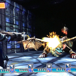 An analzyer in Metal Dungeon shoots a manticore with a laser rifle