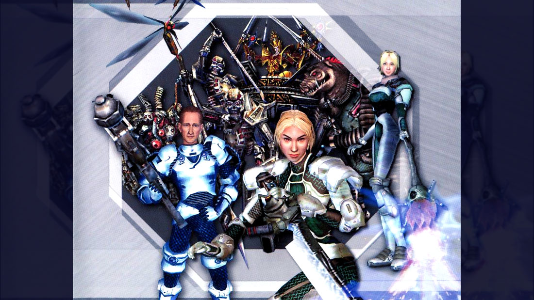 Metal Dungeon artwork featuring a team of mercenaries and monsters standing in front of a metallic emblem