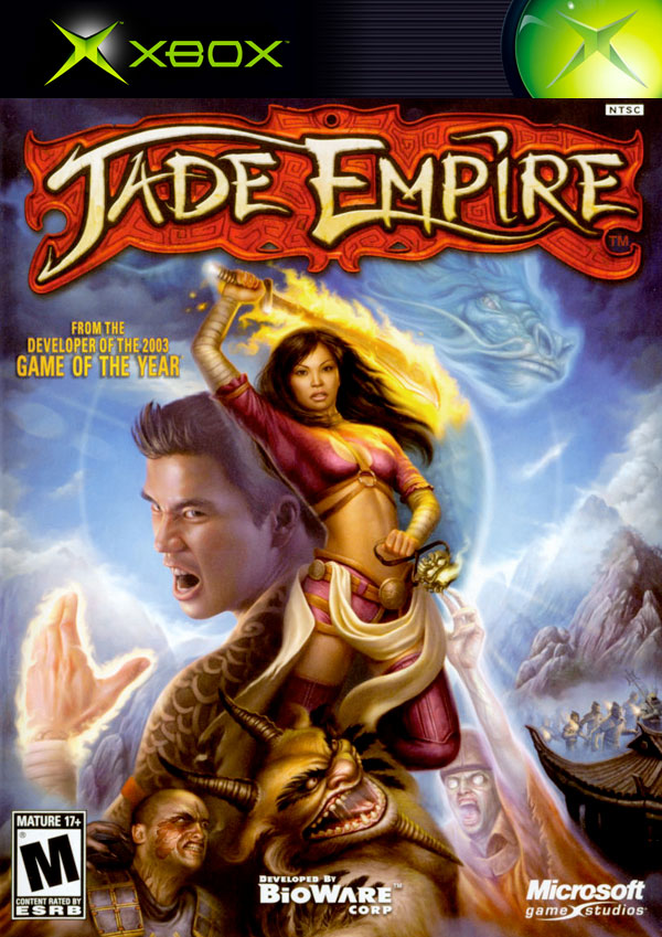 Jade Empire PAL Xbox cover showing Asian warriors striking a pose in front of a blue dragon