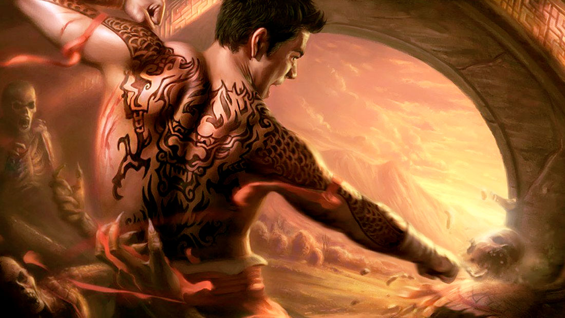 Jade Empire artwork showing an Asian warrior shattering a skeleton with his fists