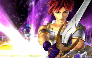 Sudeki banner showing warrior Tal posing with his sword