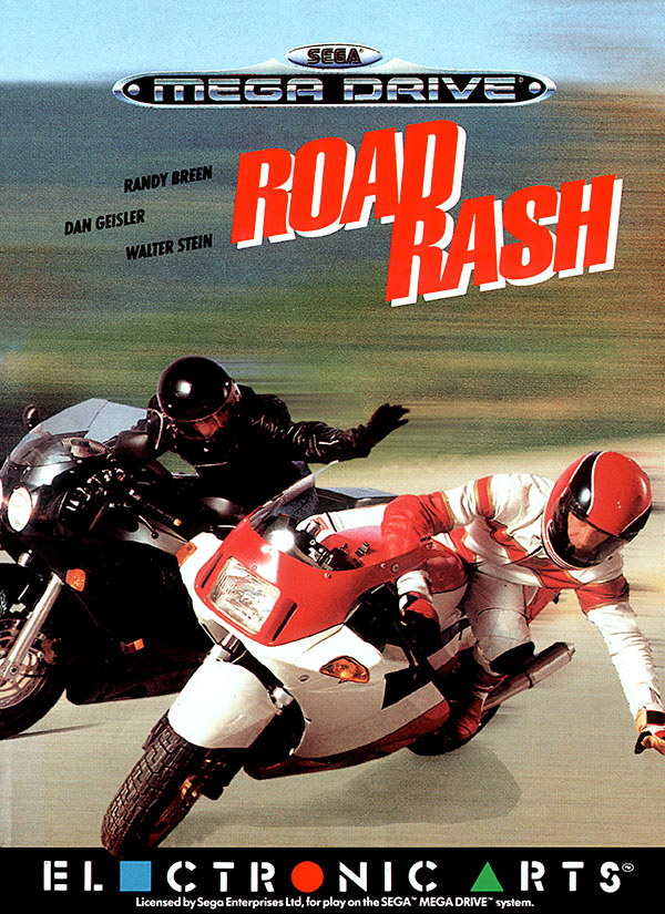Road Rash box art featuring a biker pushing another biker off his motorcycle