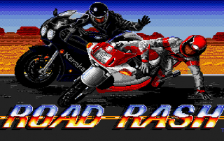 Road Rash title screen featuring a biker pushing another biker off his motorcycle