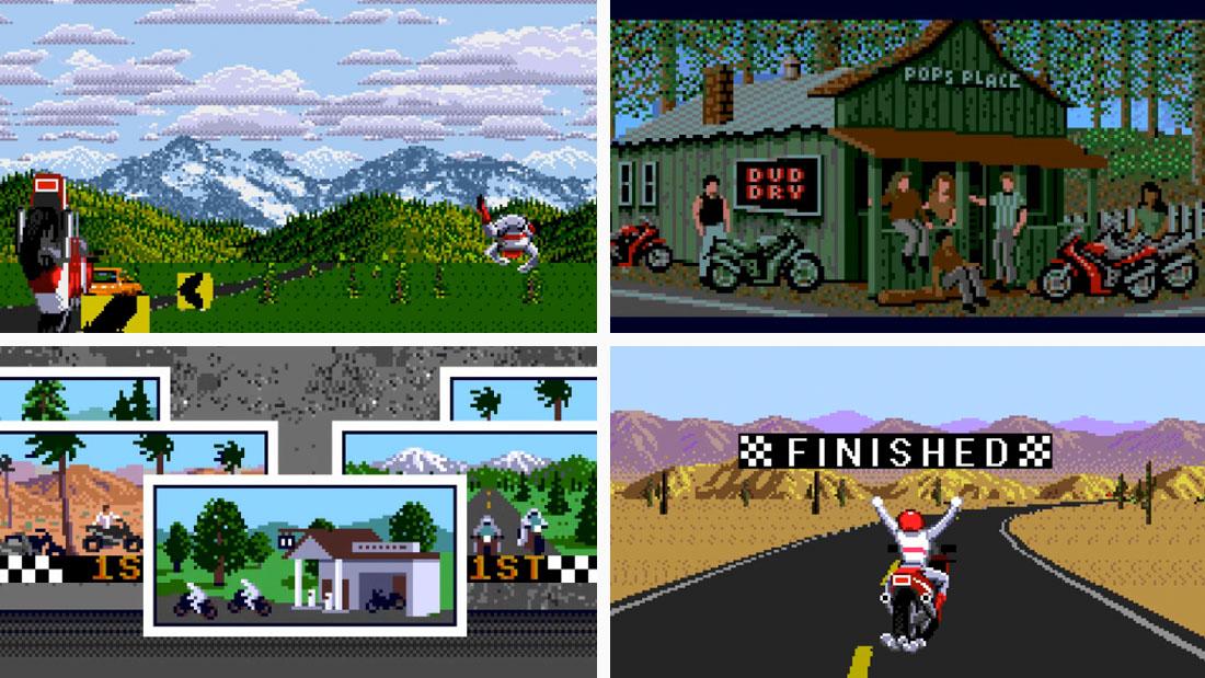 A composite of Road Rash gameplay screenshots