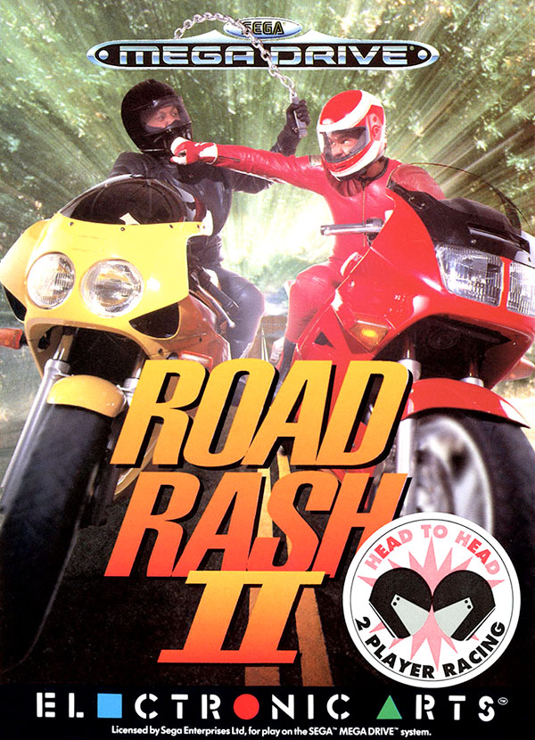 Road Rash II box art featuring two male bikers fighting each other