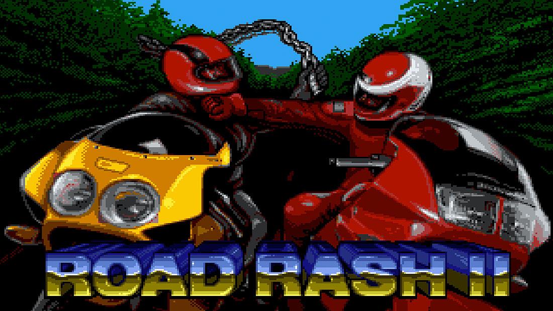 Road Rash II title screen showing two male bikers fighting each other