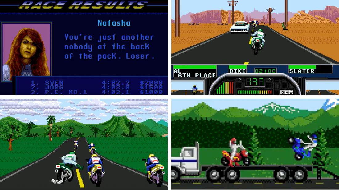 A composite of Road Rash II gameplay screenshots